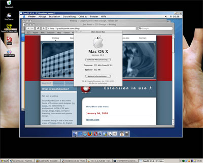 Screenshot: Running OSX under Windows using a shared internet connection